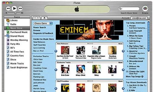 Screenshot de l'Itunes Store lors de son lancement avec Eminem en tête des ventes