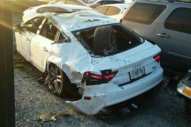 La voiture de Shawty Lo après l'accident