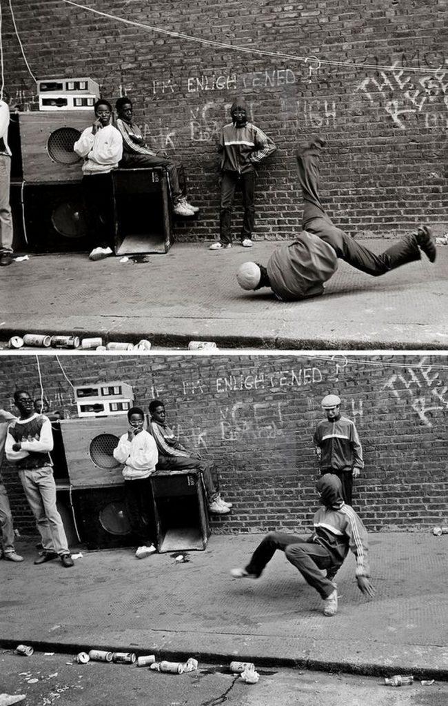 Des Breakers dansant sur le trottoir avec un simple lino et un Sound System